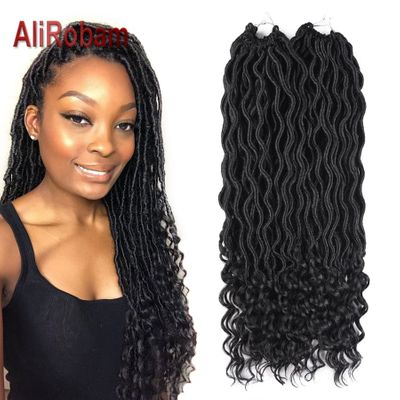 20inch Faux Locs curly Crochet Hair Bohemian style Synthetic braiding hair Extensions 24strands/pc crochet braids hair for black
