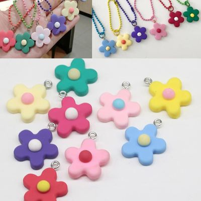 12PCS DIY Jewelry Accessories Clay Flower Pendants Funny Colorful Flower Pendants with Hanging Hole Cartoon Resin Flower Pendant