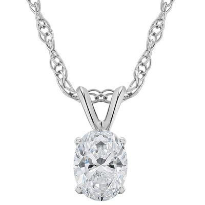 5/8Ct Certified Lab Grown Oval Diamond Solitaire Pendant 14k White Gold Necklace