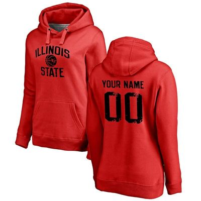 Illinois State Redbirds Women's Personalized Distressed Basketball Pullover Hoodie - Scarlet
