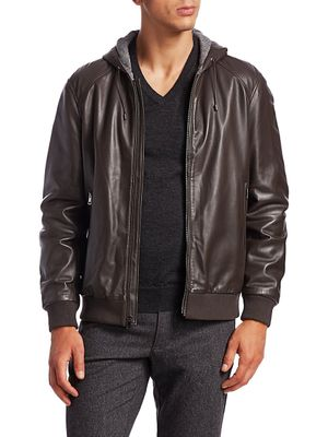 Saks Fifth Avenue COLLECTION Hooded Leather Jacket