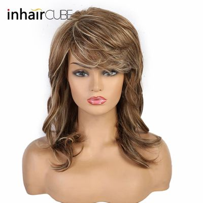Haircube Half Wigs with Bangs Lolita Long Wave Human Hair Blend Synthetic Wig Pastel Brown Blond Free Shipping