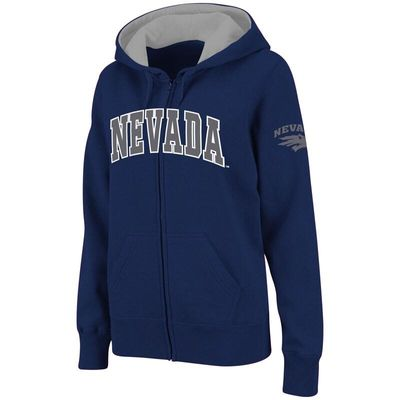 Nevada Wolf Pack Stadium Athletic Women's Arched Name Full-Zip Hoodie - Navy