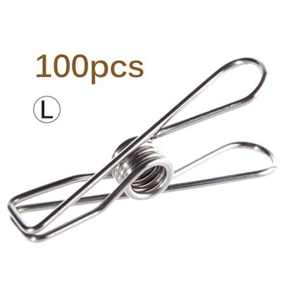 100pcs Multipurpose Stainless Steel Clips Clothes Pins Pegs Holders Clothing Clamps Sealing Clip Household Clothespin