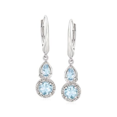 Ross-Simons Aquamarine and . Diamond Drop Earrings in Sterling Silver