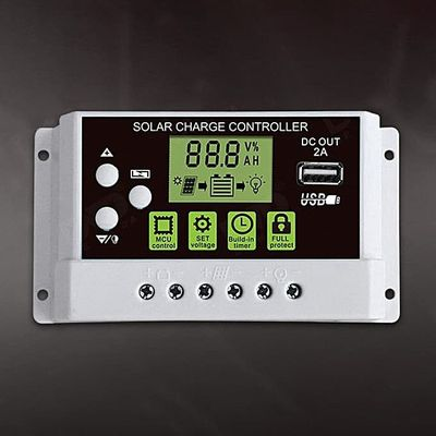 10A 12V/24V Solar Charge Controller Switch LCD Display Solar Panel Battery Regulator Charge Controller For Lithium Battery
