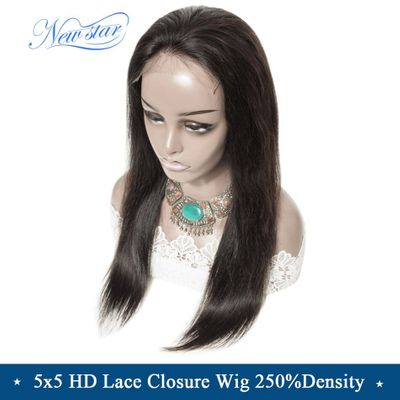 Brazilian Straight HD Lace Wig New Star Virgin Human Hair Wigs Customized 5x5 HD Lace Closure Wig 250%Density Wigs For Women