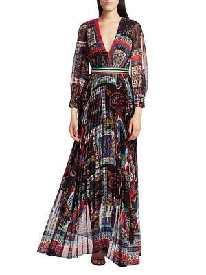 Alice + Olivia Cheney Printed Pleated Maxi Dress