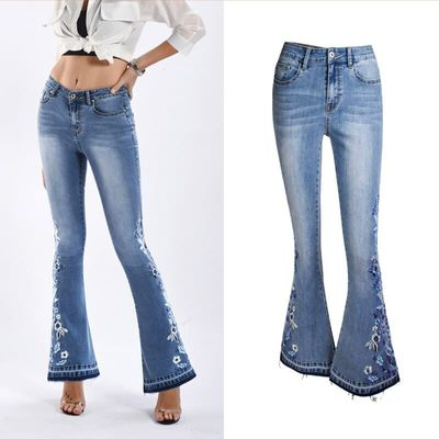 Jeans Women's Spring and Autumn Fashion Slim Wide Leg Pants Women's Denim Flare Pants Women's Embroidered Embroidered Trousers