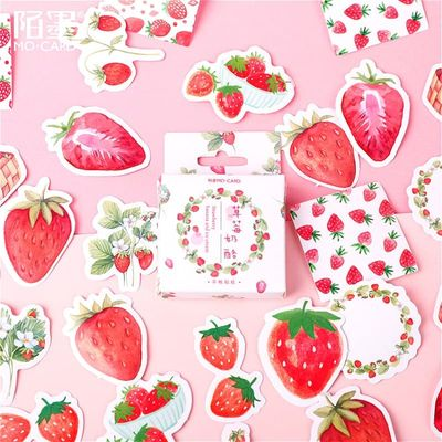 46Pcs Strawberry Memo Pad Paper Sticker Decoration Decal DIY Album Scrapbooking Seal Sticker Kawaii Stationery Gift Material