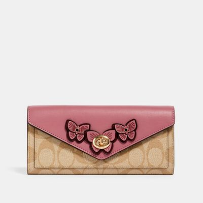 COACH Slim Envelope Wallet In Signature Canvas With Butterfly Applique