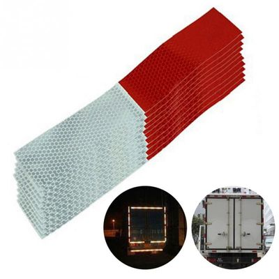 10PCS Car Reflective Stickers Warning Strip Reflective Truck Auto supplies Night Driving Safety Secure Red White Sticker 5*30cm