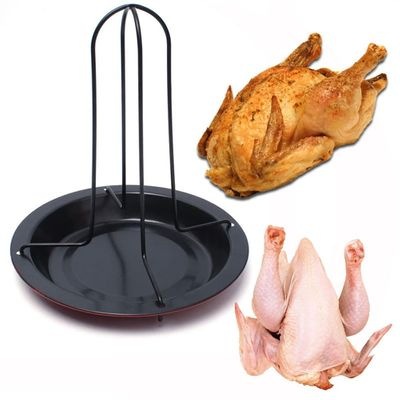New Chicken Duck Holder Rack Grill Stand Roasting For BBQ Rib Non Stick Carbon Steel drop shipping C0328