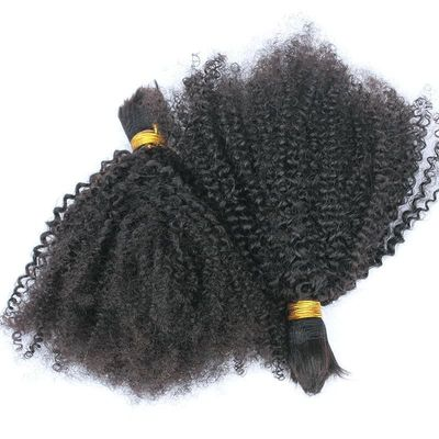 Human Braiding Hair Bulk No Attachment Mongolian Afro Kinky Curly Bulk Hair For Braiding 1Pc Braids 4B 4C You May Remy Extension