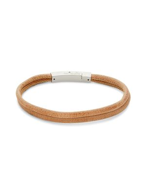 Thompson of London Double Layered Leather & Stainless Steel Bracelet