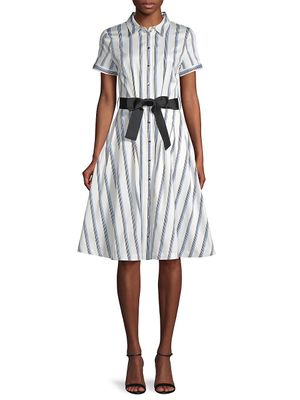 Karl Lagerfeld Paris Belted & Striped A-Line Shirtdress