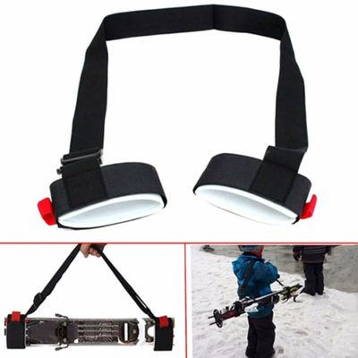 2Pc Nylon Skiing Bags Adjustable Skiing Pole Shoulder Hand Carrier Lash Handle Straps Porter Hook Loop Protecting For Ski board