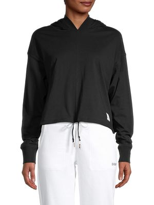 DKNY Sport Logo-Patch Cropped Cotton Hoodie