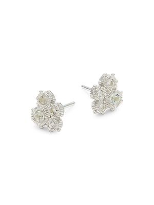 Judith Ripka Sterling Silver & White Topaz Stud Earrings