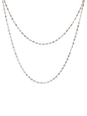CZ by Kenneth Jay Lane Look of Real Rose Goldplated & Crystal layered Necklace