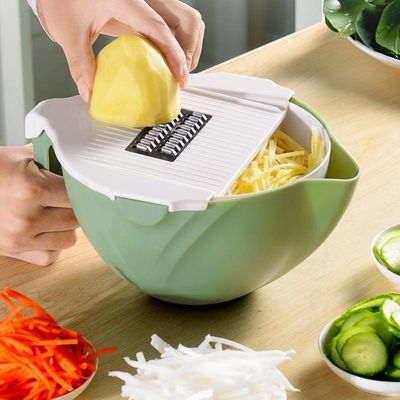 Rotate Vegetable Cutter With Drain Basket Kitchen Vegetable Fruit Shredder Cheese Grater Mandoline Slicer Dropshipping