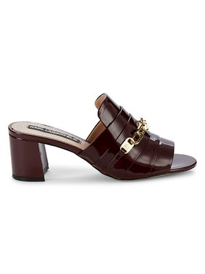 Karl Lagerfeld Paris Chain Patent Leather Mules