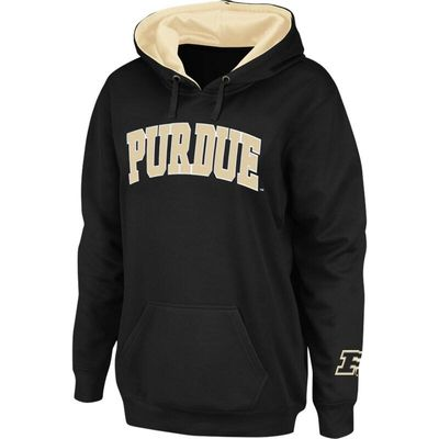 Purdue Boilermakers Stadium Athletic Women's Arch Name Pullover Hoodie - Black