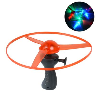 1pcs Colorful Funny Toy Pull String Colorful LED Light Up Simulators Pull String UFO LED Light Up Flying Saucer Disc Kids Toy