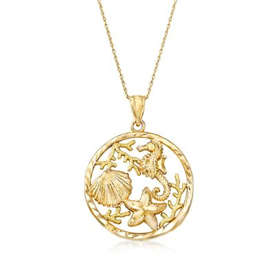 Ross-Simons 14kt Yellow Gold Sea Life Pendant Necklace