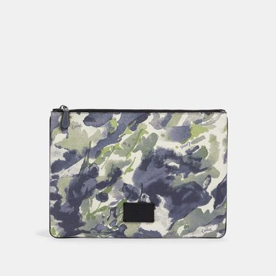 COACH Large Pouch With Watercolor Script Print