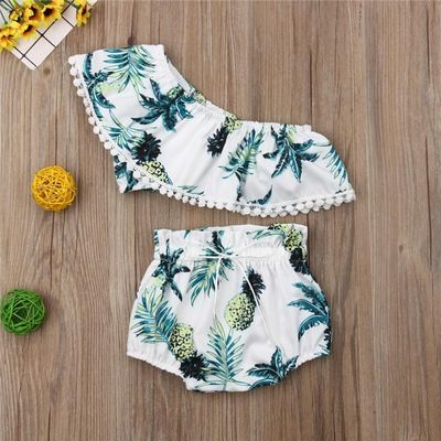 2020 New Toddler Kids Girls Floral Bikini Set Ruffle Crop Tops Shorts Briefs Outfit Set Summer Fashion Swimwear Beachwear