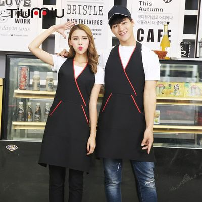 2018 New Arrival Wholesale Patchwork Chef Aprons with Two Pockets Kitchen Restaurant Cafe Bar Waiter Workwear Apron Chef Uniform