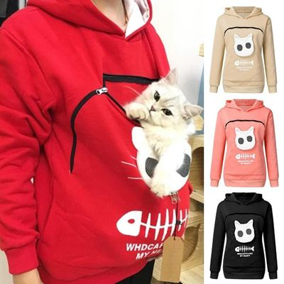 Animal Kangaroo Pocket Sweatshirts Women Hooded With Cat Fish Bone Pullovers Carry Pet Keep Warm for Little Cat and Puppy Sweat