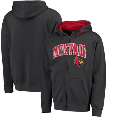 Louisville Cardinals Arch & Logo Full-Zip Hoodie - Charcoal