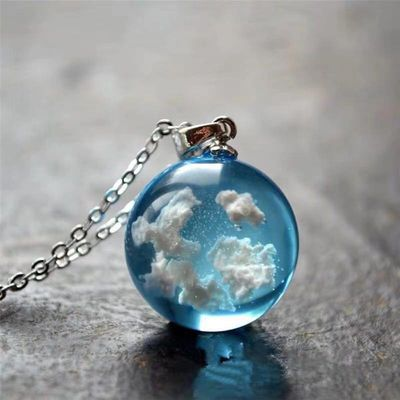 White Clouds Blue Sky Resin Glass Ball Universal Ball Pendant Necklac Jewelry