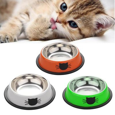 Pet Tools Supplies 1pc Pet Product Dog Cat Food Bowls Stainless Steel Anti-skid Dogs Cats Water Bowl Pets Drinking Feeding Bowls