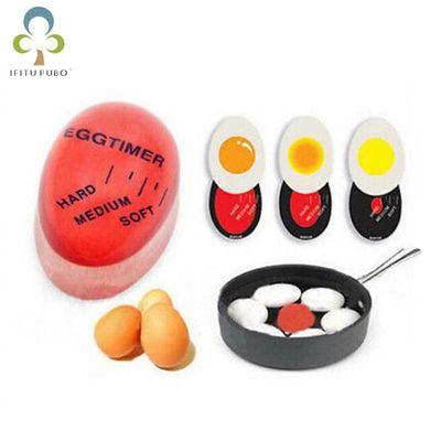 1pcs Egg Perfect Color Changing Timer Yummy Soft Hard Boiled Eggs Cooking Kitchen Eco-Friendly Resin Eggs Timer Red WYQ