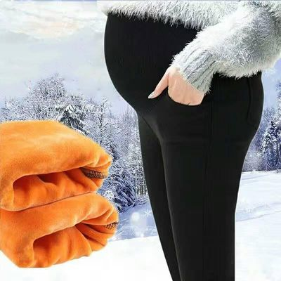 Winter Pregnant Cotton Blend Gold Velvet Black Pants Thick Warm Stretch Slim Adjust Maternity Leggings Mother High Waist Clothes