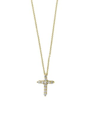 Effy Super Buy 14K Yellow Gold and Diamonds Cross Necklace