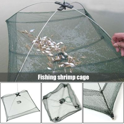 Hot Portable Folded Fishing Net Folded Baits Mesh Trap Durable for Shrimp Minnow Crayfish Shrimp Catcher Trap Cage Fish Network