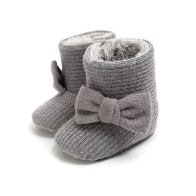 Pudcoco Cotton Baby Bow-knot Winter Snow Boots Shoes Toddler Cotton Warm Shoes Booties Crib Shoes Soft Sole Prewalker