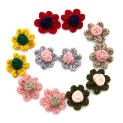 10Pcs Wool Handmade Flower Accessories Random Color For Making Crafts Hair Clips Clothes Decor,10Yc8813