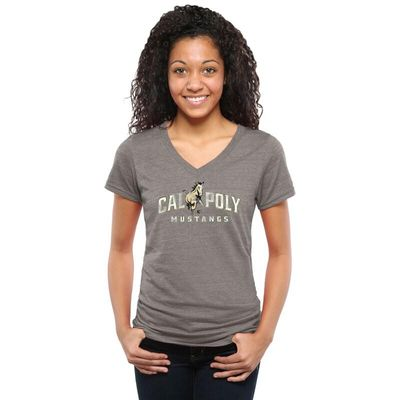 Cal Poly Mustangs Women's Classic Primary Tri-Blend V-Neck T-Shirt - Gray