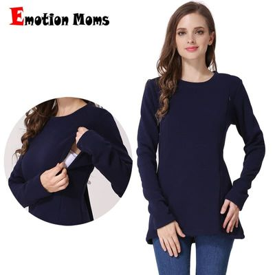 Emotion Moms New Long Sleeve Maternity Clothes COTTON winter Top Breastfeeding tops for Pregnant Women maternity T-shirt