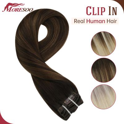 Buy 2 Get a Random One Clip in Hair Extensions Hair Clips for Women 16-24 Inch Balayage Color Machine Remy Human Hair Clip in
