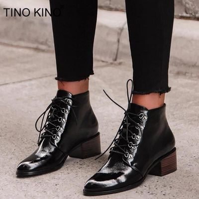 Autumn New Women Ankle Boots Ladies Patent Leather Lace Up Short Boots Female Square Heels Pointed Toe Casual Woman Shoes