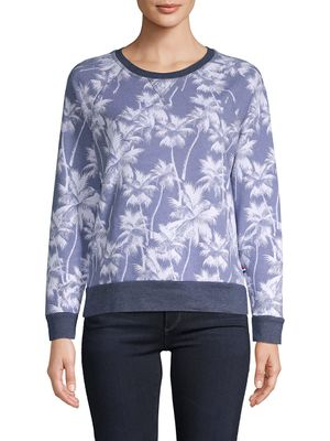 Sol Angeles Palm Tree-Print Pullover Cotton-Blend Sweater