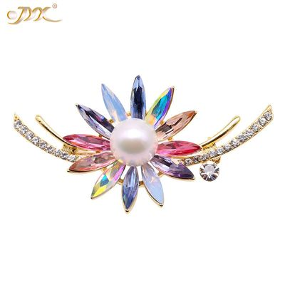 JYX Colorful Zircon Pins Brooch big natural freshwater pearl 12mm Christmas Gift Brooches for women so beautiful pin