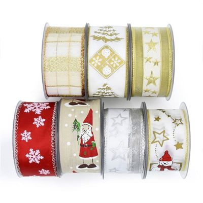 10m Wired Christmas Ribbon Polyester Sheer Glitter Colorful Snowflake DIY Crafts