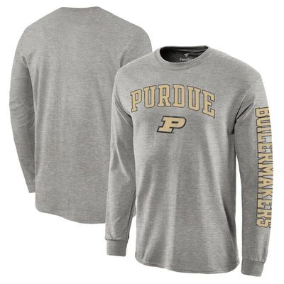 Purdue Boilermakers Fanatics Branded Distressed Arch Over Logo Long Sleeve Hit T-Shirt - Gray